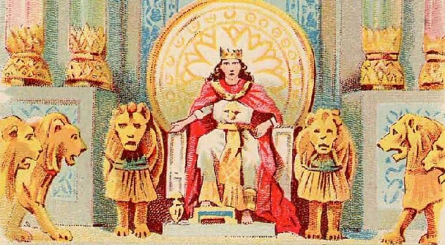 Solomon's Wealth and Wisdom, as in 1 Kings 3:12-13, illustration from a Bible card published 1896 by the Providence Lithograph Company