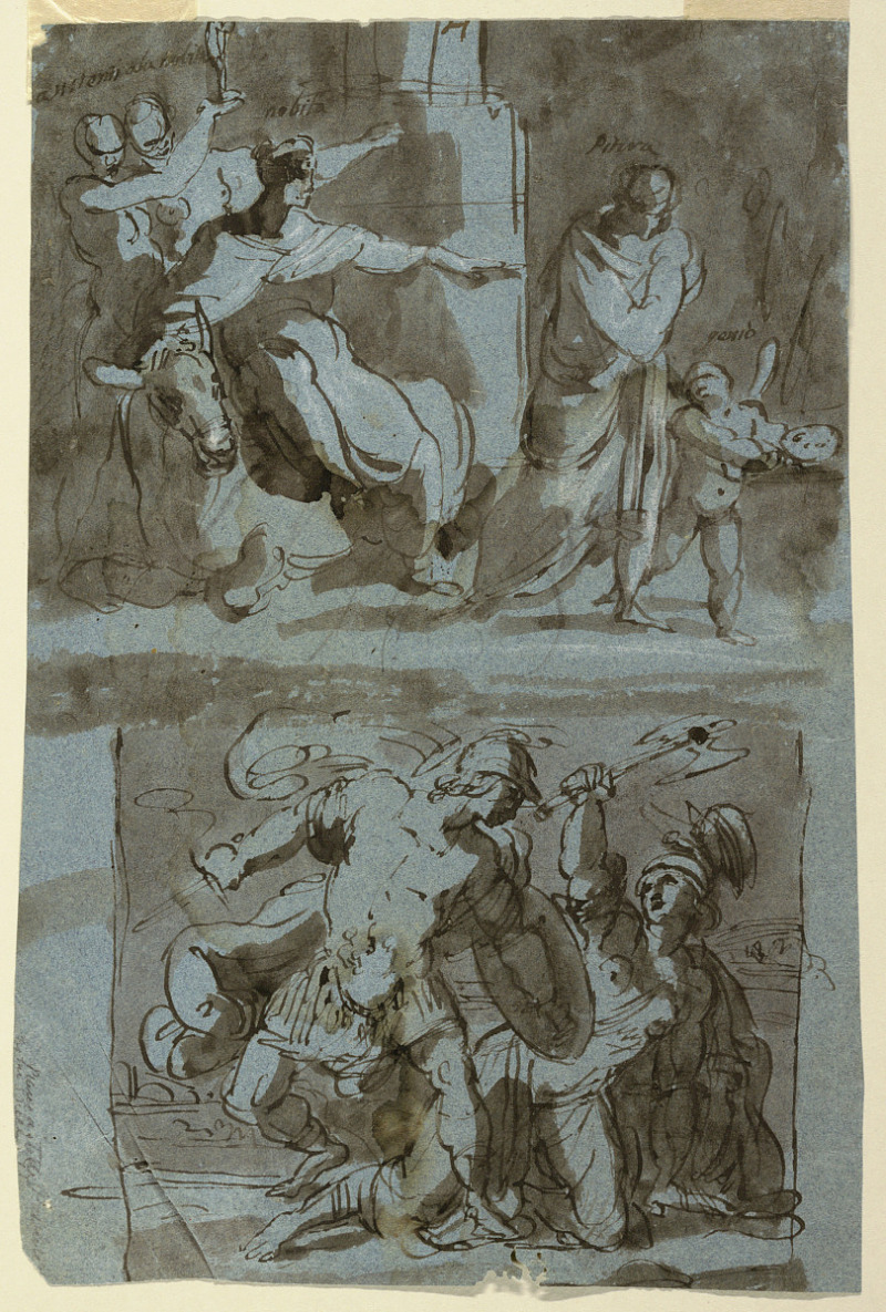 Sketches for Paintings - At top, an expulsion. Below, a battle scene with an Amazon - ca. 1800