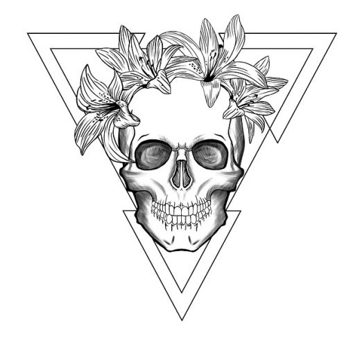 Abenteuerskizze: Skull and Flowers