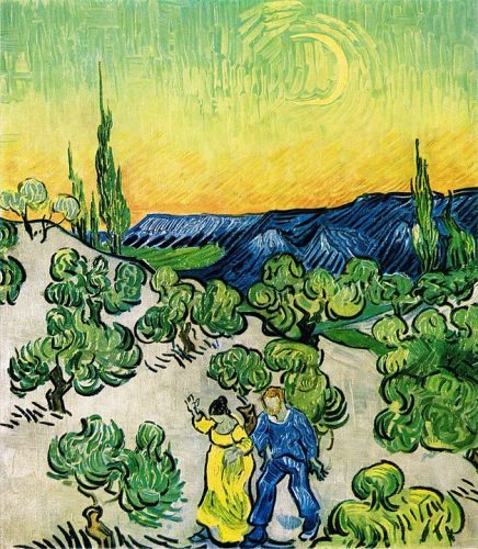 Abenteuerskizze: Landscape with Couple Walking and Crescent Moon (Vincent van Gogh)